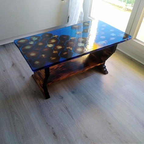 table basse resine epoxy originale