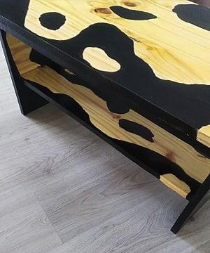 petite table basse en bois et résine
