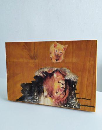 tableau chaton miroir lion,mignon chat décoration maison