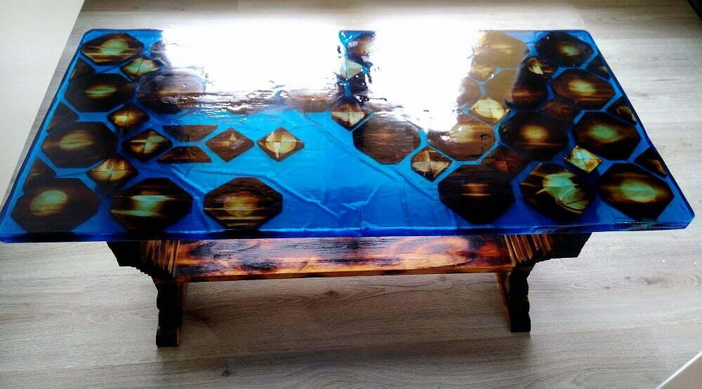 table résine epoxy,meuble salon