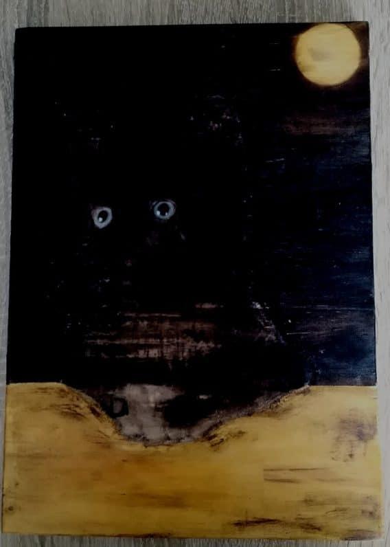 tableau yeux de chat en pleine lune. déco insolite